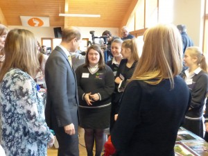 Prince Edward chatting to students
